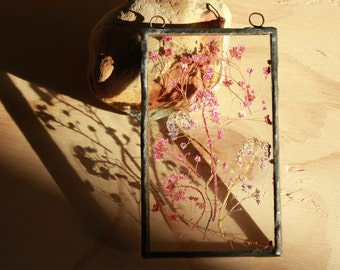 Vintage Sun Catcher with Dried Pink Flowers