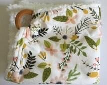 Teething Ring Blanket - Floral Lovey Blanket - Wooden Teething Ring - Floral Security Blanket - Girl Baby Shower Gift - New Baby Girl Gift