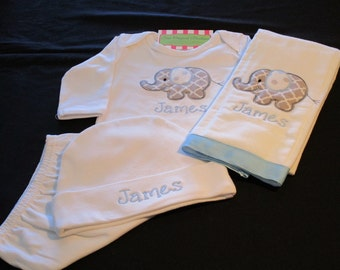 Newborn Boy Outfit-Newborn Boy Coming Home Outfit-Baby Boy Take Home Outfit-Personalized Elephant Gown-Baby Boy Elephant Set