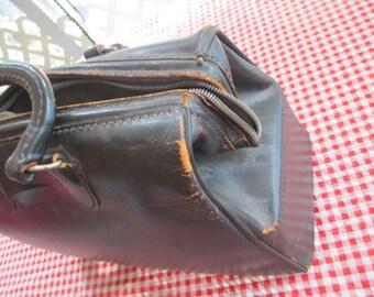Antique Doctor's Medical Bag, Black Cowhide Doctor Bag