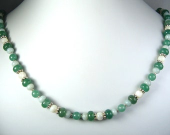 Aventurine, Amazonite and Mother of Pearl Necklace Silver