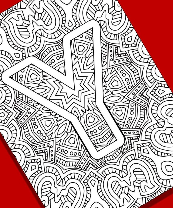Letter Y Coloring Pages: Alphabet Adult Coloring Pages Instant Download Letter Y