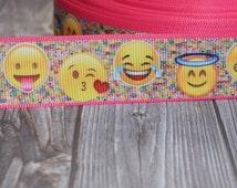 Emoji ribbon - Emoticon ribbon - 1 inch grosgrain - 3 or 5 yards - Smiley face ribbon - Smiley ribbon - Smiley craft DIY - DIY emoji bows