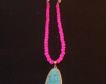 Braided Turquiose Pendant Necklace