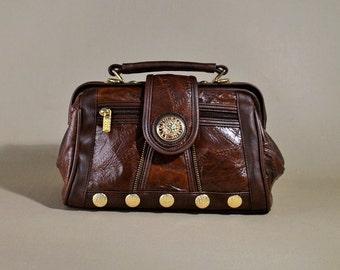 Vintage Brown Leather Bag, Shoulderbag, Office Bag, Doctors Bag, Handbag