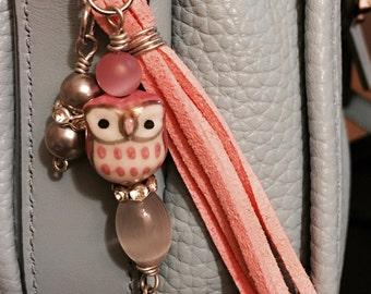 Pink Owl Purse Charm, Mini Purse Charm, Bag Charm - FREE SHIPPING