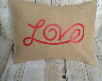 Valentine Pillow, Valentine pillow cover, love pillow, burlap pillow, burlap pillow cover, burlap valentine pillow