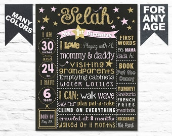 Twinkle Twinkle little star First Birthday Chalkboard sign Printable file (280)