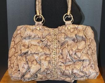 Bebe Snake Exotic Frills Ruffle Tote Handbag