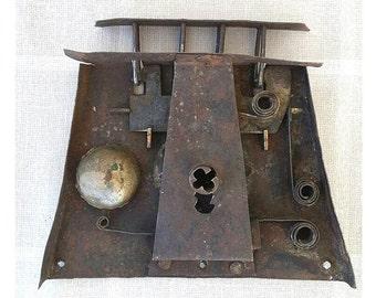 Antique chest lock mechanism Iron hand forged lock Chest wardrobe or door hardware Industrial decor Collectible Rusty Door lock Salvaged