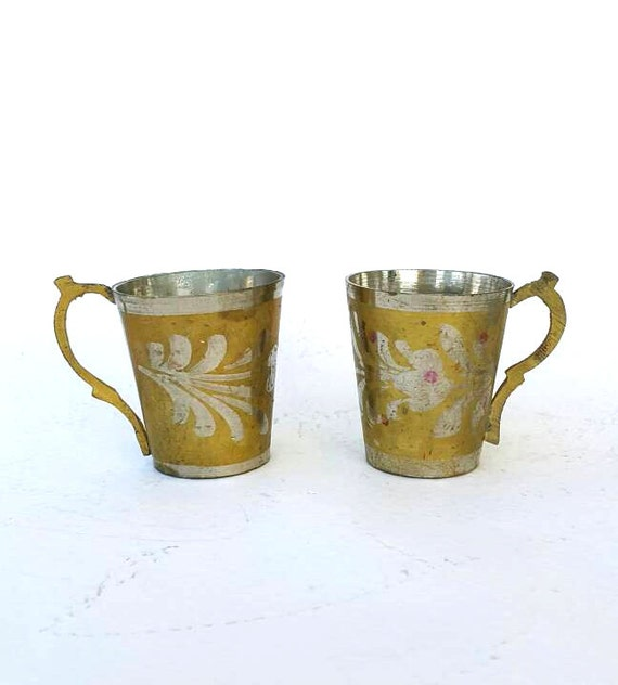 Vintage brass cups Solid brass goblets Small tea cups Gold tone brass home decor Small decorative miniature mugs Rustic oriental decorated