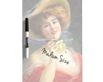 Dry Erase Board w/ Marker, Lady in Red, 3 Sizes Available!