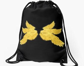 Golden Archangel Wings Drawstring Backpack, Bag, Totebag - Supernatural, Gabriel
