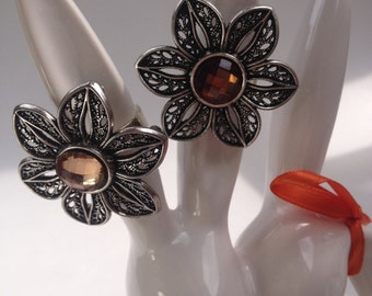 Silver Brown or Beige Floral Ring