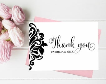 Personalized Wedding Thank you Card set. Thank you cards. Personalized Thank you CArds. Thank you from the newlyweds. Thank you cards.