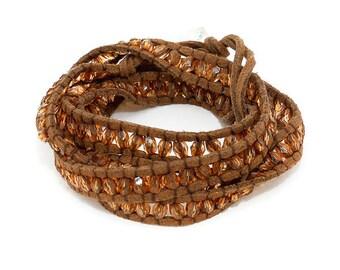 Gold & Dark Brown Cord Glass Bead Coil Multi Wrap Bracelet