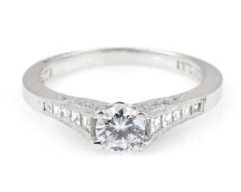 Platinum Tacori Diamond Ring Semi-Mount Engagement Ring
