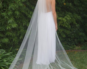 Marie, Cathedral Length Veil, Cut Edge Veil, Swarovski Crystal Rhinestone Veil, Bridal Veil, Custom-Made Veil, Made-to-Order Veil