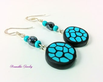 Turquoise and Black Earrings. Beaded Earrings. Polymer Clay Earrings. Dangle Earrings. Gift for Her. Hand Made Jewelry