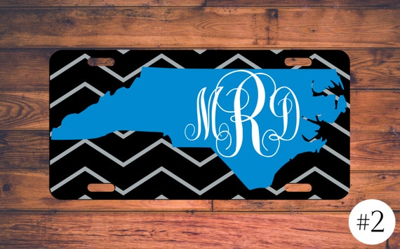monogram license plate north carolina panthers car tag custom
