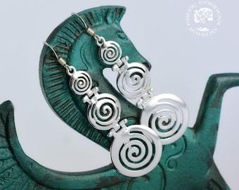 spiral sterling silver dangle earrings, spiral earrings, spiral, greek earrings, greek jewelry, goddess earrings, goddess jewelry, greek