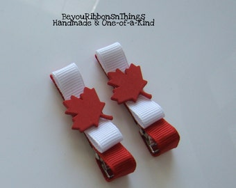 Patriotic | Maple Leaf | Hair Clips for Girls | Toddler Barrette | Kids Hair Accessories | Grosgrain Ribbon | No Slip Grip