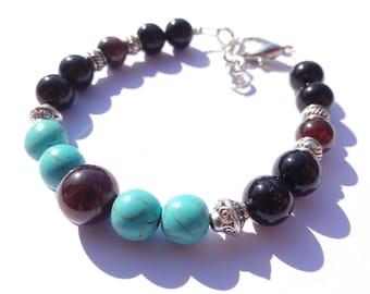 Bracelet for protection from the evil eye Bracelet-Protection-Evil Eye Bracelet-Turquoise Amulet-Garnet-Black Onyx-Evileye