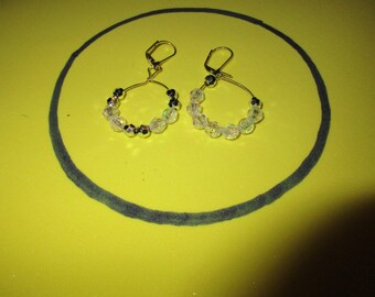 Vibrant Clear and Silver Bead hoop earrings