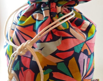 Cotton Geometric Drawstring Bucket Bag