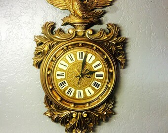 vintage Westclox eagle wall clock ornate gold midcentury clock