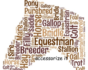 5x7 or A4 Size Personalised Horse Equestrain Word Art Print * Digital File Also Available