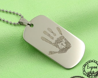 Customized Handprint Engrave Army Style Dog Tag , Personalized in handwriting replica. gift for mother, gift for nanny, gift for wife