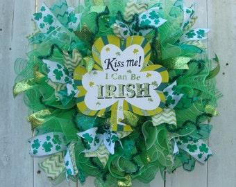 Saint Patrick's Day wreath, mesh wreath, green mesh wreath, shamrock ribbon, spring wreath