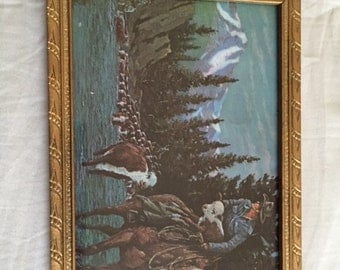 Vintage Framed Cowboy Cattle Drive Print of Painting