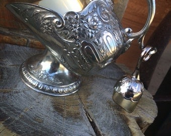Vintage Silver Plated Sugar Bowl with Scoop, Nut Bowl, Dining, Décor