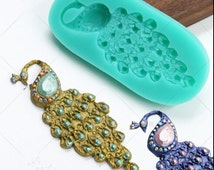Peacock Jewelry brooch silicone Molds fondant mold Flexible Silicone Mould Candy Cake Fimo Resin Crafts