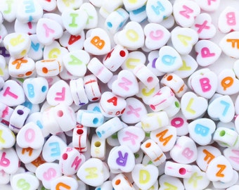 100 Heart Alphabet Beads - 7mm Heart Letter Beads