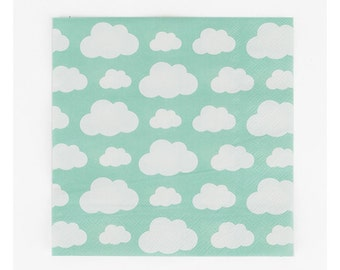 Cloud paper napkins. Set of 20. Cloud print paper napkins. Sky blue party napkins.  Sky paper napkins.  Weather party decor.  Rainbow party