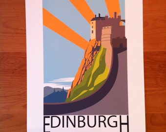 Edinburgh, Scotland, Art Deco, Edinburgh Castle, thejonesboys, art deco, Liverpool prints