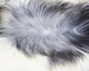 White & Grey Icelandic Sheepskin #853