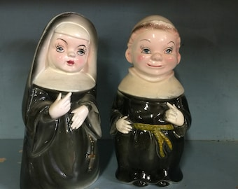 Vintage bank nun and priest