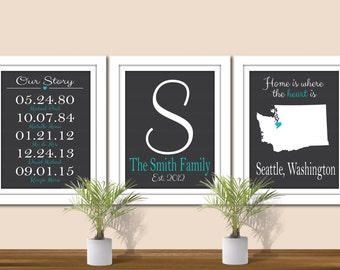 Important Dates, Family Name Art, & State Art - Digital Wall Art. Custom Colors. Printable. State Print. All States and Countries available