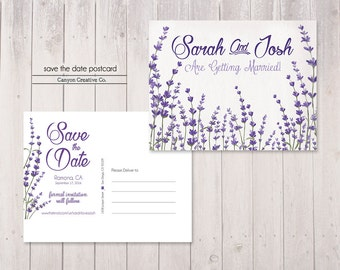 lavender save the date postcard - save the date - printable save the date - postcard - no. 013P
