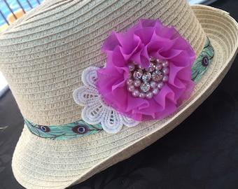 Embellished Kids Straw Hat