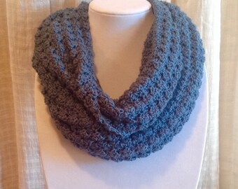 Blue Infinity Scarf, Blue Infinity Cowl, Blue Scarf, Blue Crochet Infinity Scarf