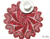 Crochet Doily, Shaded Red Doily with hearts, Round Doily, Table decoration, Medium doily, Centrino Rosso sfumato (Cod. 6)