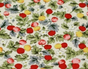 Red and yellow buds  Pattern Cotton Fabric- 20 inches long X 59 inches wide