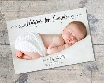 Minimalist Script  BABY ANNOUNCEMENT Card DIY Printable  Baby Thank You Card