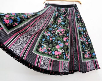 DIRNDL, Dirndl Skirt, Floral Dirndl, German Dirndl, Bavarian Skirt, Elastic Waist Dirndl, Size XL