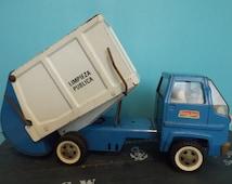 Spanish Truck trash can of metal 1970/ Spanish metal game vintage